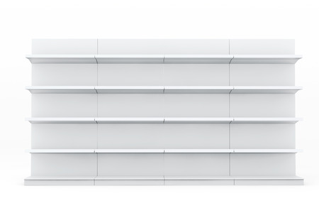 fixtures: White Market Racks Shelves Showing Products on a white background