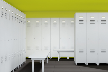 secondary colors: Row of Steel Lockers with bench in the room Stock Photo
