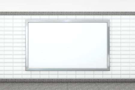 Big Blank Horizontal Poster on Metro Station. 3d rendering