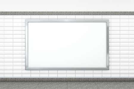 Big Blank Horizontal Poster on Metro Station. 3d rendering