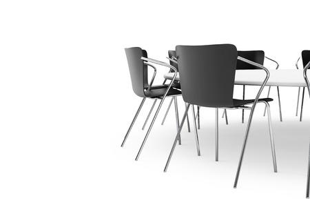 sillon: Sillas de oficina negras y Mesa Redonda Conferencia sobre un fondo blanco Foto de archivo