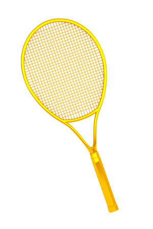 sport object: Golden Closeup Tennis Racket on a white background Stock Photo