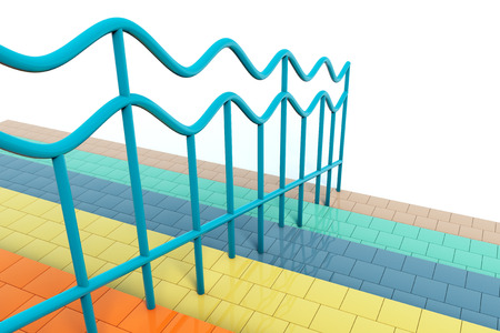 handrails: Extreme closeup multicolour stair with handrails Stock Photo
