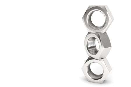 Shiny Metal Nuts in Stack on a white background Stock Photo