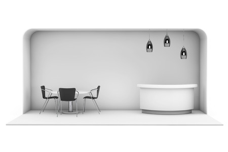 exhibitions: Trade Commercial Exhibition Stand on a white background. 3d rendering