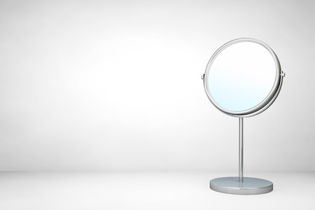 woman in mirror: Chrome Makeup Mirror on a white background Stock Photo