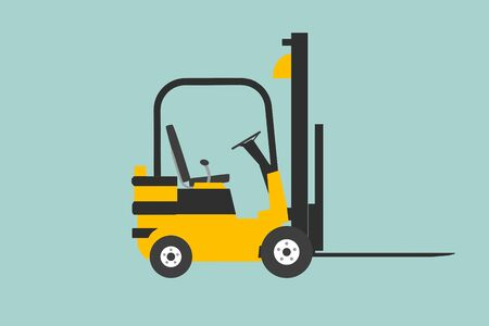 yelllow: Flat Conceptual Illustration of yelllow forklift on a green background