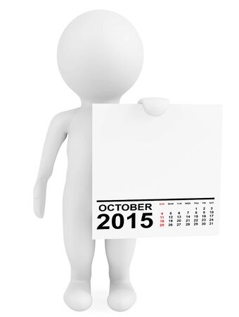 calendar october: Character holding calendar October 2015 on a white background Stock Photo