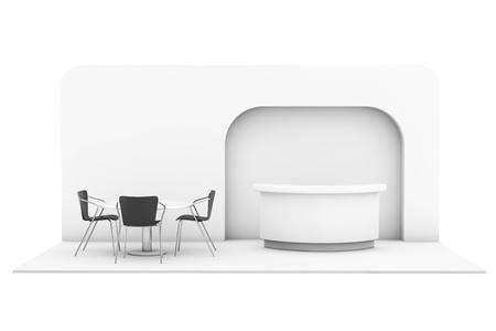 comercio: Comercio Exposición Comercial soporte sobre un fondo blanco. Las 3D