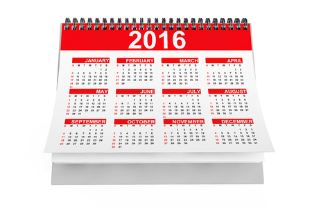 months of the year: 2016 year desktop calendar on a white background