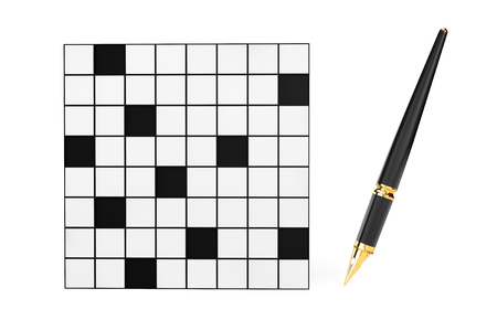 puzzling: Abstract Blank Crossword with Fountain Writing Pen on a white background Stock Photo
