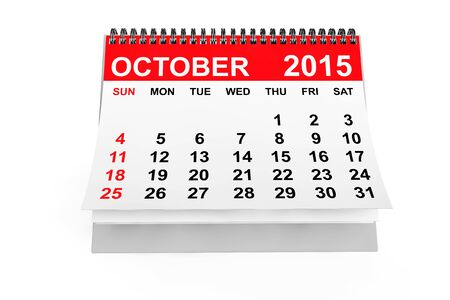 october calendar: 2015 año calendario. Calendario de octubre, sobre un fondo blanco Foto de archivo
