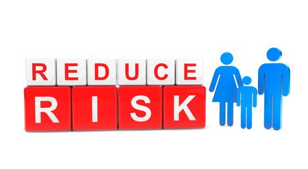 property management: Reduce Risk Cube with Persons Family on a white background
