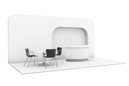 Trade Commercial Exhibition Stand on a white background. 3d rendering