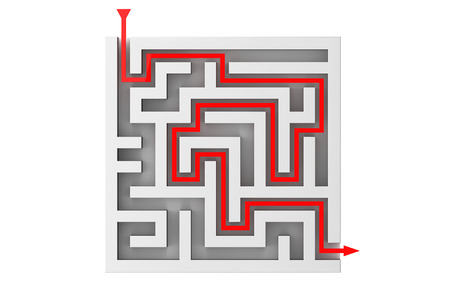 moves: Red Arrow Moves Through the Labyrinth on a white background