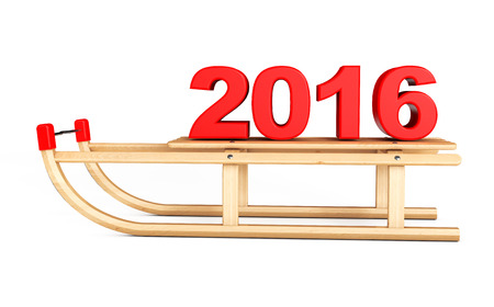 luge: Classic Wooden Sled with 2016 New Year Sign on a white background Stock Photo