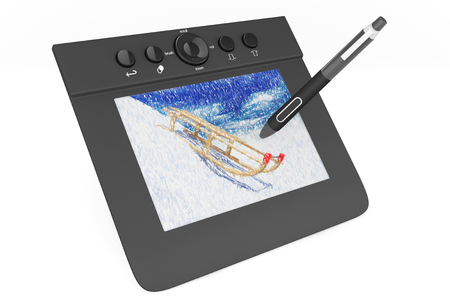 prepress: Digital Graphic Tablet with Pen and Sledges drawing on a white background Stock Photo