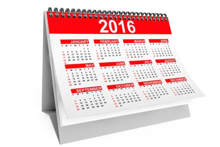 calendar: 2016 ann�es calendrier de bureau sur un fond blanc