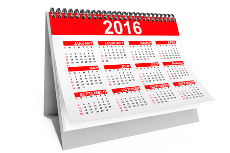 note pc: 2016 year desktop calendar on a white background
