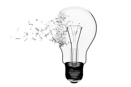 explode: Idea Concept. Light Bulb Exploding on a white background