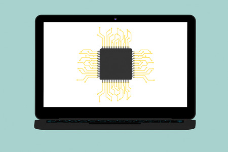 micro chip: Flat Conceptual Illustration of Micro chip and Modern Laptop on a green background Stock Photo
