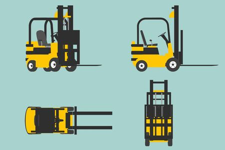 transport icons: Flat Conceptual Illustration of yelllow forklift on a green background