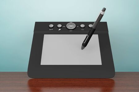 prepress: Old Style Photo. Digital Graphic Tablet with Pen on the table