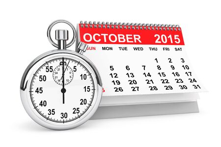 calendar october: 2015 year calendar. October calendar with stopwatch on a white background Stock Photo