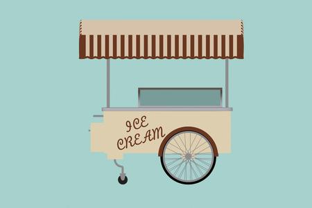 ice cream cart: Piatto Illustrazione concettuale di gelato carrello su uno sfondo verde Archivio Fotografico