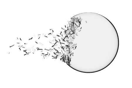 Glass Ball Exploding on a white background