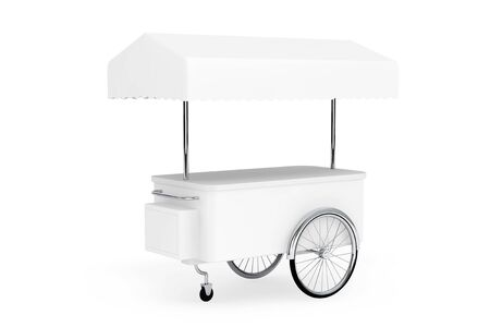 sidewalk sale: Blank Promotion Cart and Canopy on a white background