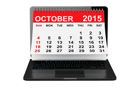 calendar october: 2015 year calendar. October calendar over laptop screen on a white background