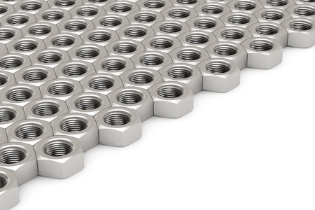 Array of Silver Machine Nuts in a symmetrical pattern on a white background Stock Photo