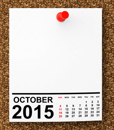Calendar October 2015 on blank note paper with free space for your text Stock Photo