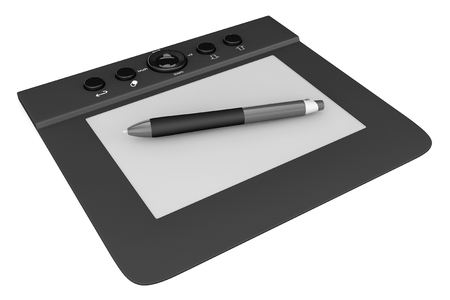 prepress: Digital Graphic Tablet with Pen on a white background Stock Photo