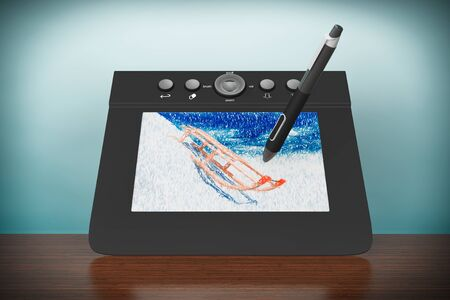 prepress: Old Style Photo. Digital Graphic Tablet with Pen and Sledges drawing on the table
