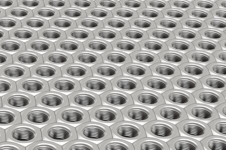 dimensionally: Array of Silver Machine Nuts in a symmetrical pattern on a white background Stock Photo