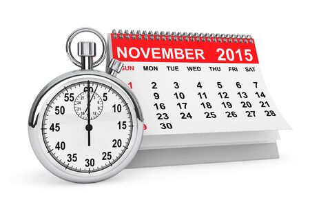 november calendar: 2015 year calendar. November calendar with stopwatch on a white background