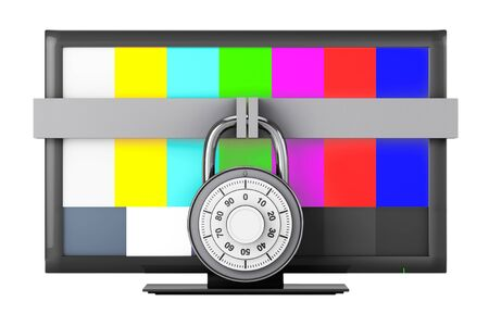 padlock: Television with Test Pattern and Padlock on a white background Stock Photo