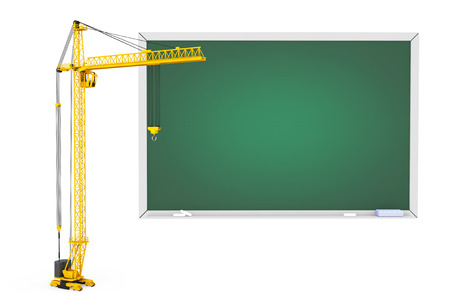 crane: Tower Crane with Blackboard on a white background Stock Photo