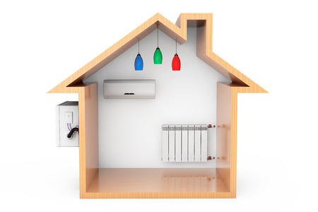 ionizer: Air Conditioner and Heating Radiator in the Wooden House Outline on a white background