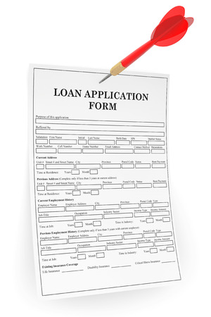mortage: Loan Application Form with Darts Arrow a white background Stock Photo
