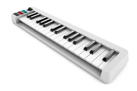 electronic piano: Digital Piano Synthesizer on a white background. 3d rendering Stock Photo