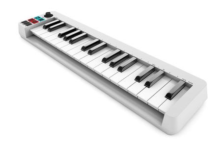 piano: Sintetizador piano digital sobre un fondo blanco. Las 3D Foto de archivo