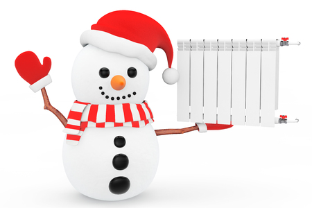 optimal: Snowman with Heating Radiator on a white background
