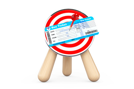 autobus: Bus Ticket in Center of Archery Target on a white background Stock Photo