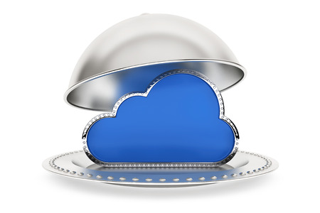 cloud network: Restaurant cloche with Cloud Computing Symbol on a white background Stock Photo