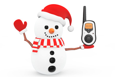 portable radio: Snowman with Portable radio transceiver on a white background