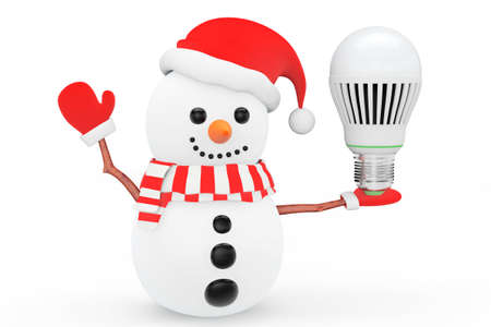 led bulb: Snowman with Energy Save LED bulb on a white background Stock Photo