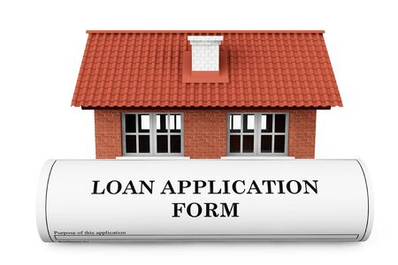 personal data privacy issues: Loan Application Form with House on a white background